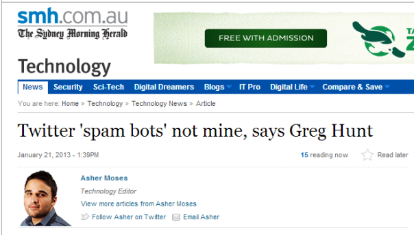 Twitter 'spam bots' not mine, says Greg Hunt.
