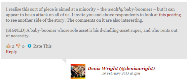 Denis Wright Comment & Response