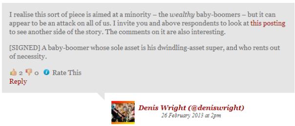 Denis Wright Comment & Response