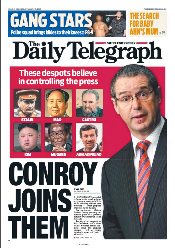 Daily Telegraph Front Page March 13, 2013