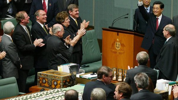 Chinese President Hu Jintao addressed parliament during his 2003 visit, which marked a shift in China's attitude to Australia. Picture: AP Source: AP