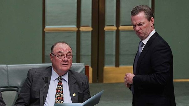 Male MPs know best: Warren Entsch (left) and Christopher Pyne. Photo: Alex Ellinghausen