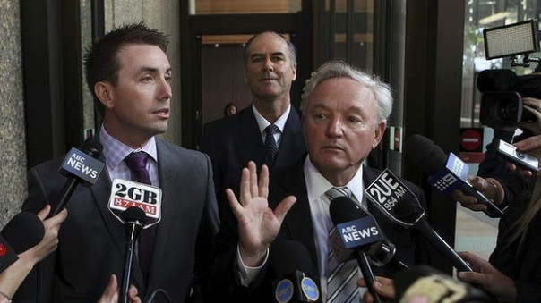 James Ashby (left) with Anthony McClellan after the Federal Court ruling on December 12. Photo: Wolter Peeters, Fairfax