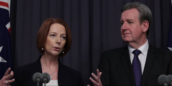 PM Julia Gillard, NSW Premier Barry O'Farrell and NSW Disability Services Minister Andrew Constance at NDIS press conference in Canberra on Thursday 6 December 2012. Photo: Alex Ellinghausen